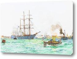Английский военный корабль Сент-Винсент на постоянную отшвартовк