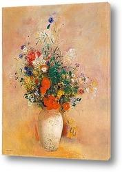 Картина Ваза с цветами на розовом фоне