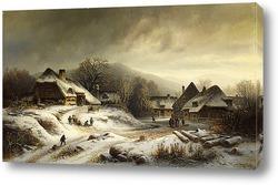 Снежные сцены в деревне