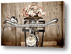 Старый велосипед и ваза с цветами