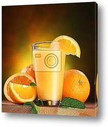 Постер Oranges and glass of juice.