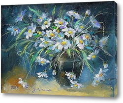 wet bouquet of  bird cherry and lilac, illustration, painting