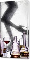 Постер Красивые женские ноги за мокрым стеклом.