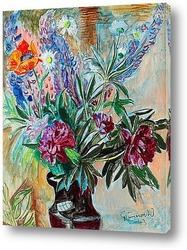 Натюрморт с цветами в вазе и фруктами