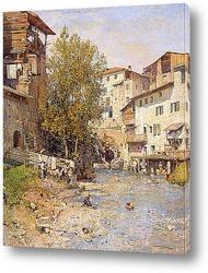 Картина Пейзаж с деревней на окраине Рима