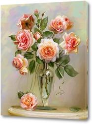 Розы на мраморном столике