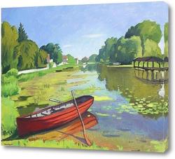 Картина Самуи, красная лодка