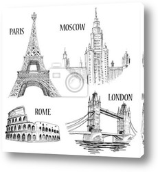 Постер European cities sketched symbols
