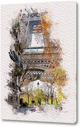 Картина Париж, акварельный скетч