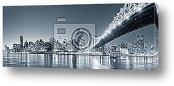 Постер Нью-Йорк, ночная панорма