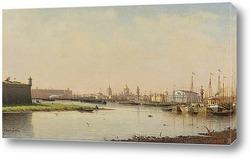 Вид на пристань и Стокгольмский королевский дворец