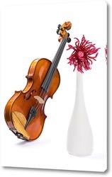 Постер Скрипка, ваза и цветок