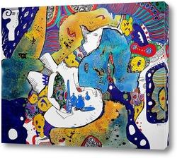 Картина Ангел и синие бутылочки