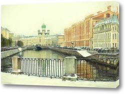 Постер Санкт-Петербург. Канал Грибоедова. Могилевский мост и Исидоровская церковь.