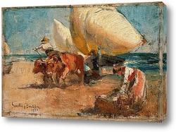 Возвращение рыбаков.Пляж Валенсия