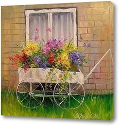 Картина Старая телега с цветами