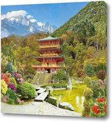 Постер Китайская Пагода на реке