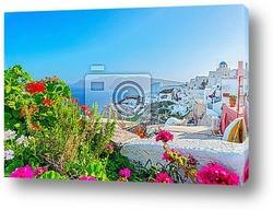 Постер Греция Остров Санторини в Киклады, традиционный