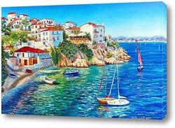 Постер Белые домики Греции