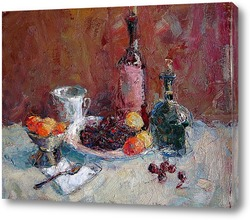 Натюрморт с вином и черешней