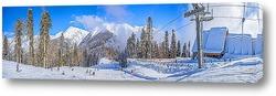 Панорамный вид на Главный Кавказский хребет со склонов горнолыжного курорта «Горки Город» в декабре. Красная поляна