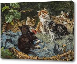 Картина Пять котят в корзине