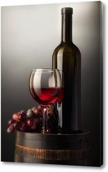 Постер Композиция с красным вином на старой бочке