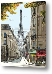 Постер Street in paris - illustration