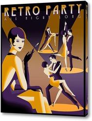 Картина Афиша танцевальной вечеринки в стиле Арт Деко