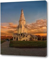 Постер церковь ВОЗНЕСЕНИЯ ГОСПОДНЯ в коломенском на закате