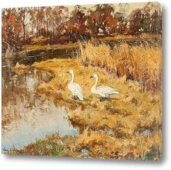 Картина Пейзаж с двумя гусями, 1924