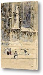 Постер Фигуры на фоне готического собора