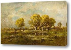 Постер Пейзаж с озером и деревьями