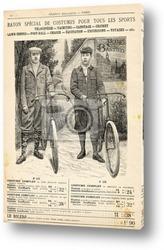Картина Двое мужчин с велосипедами в  костюмах