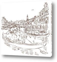 Venice - Grand Canal. The view from the Rialto Bridge. Vector sk