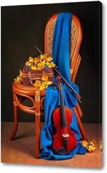 Картина С орхидеями и скрипкой