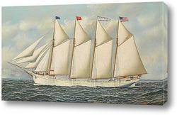 Постер Четыре мачтовый корабль