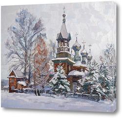 Картина Сельский храм.Этюд.