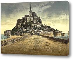 Постер Южный фронт с дамбой, Мон-Сен-Мишель, Франция 1890-1900 гг