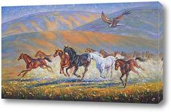 """Постер Картина: """"Табун лошадей"""""""