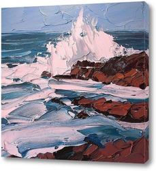 Картина Морские волны возле скал