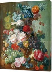 Картина Фрукты и цветы в керамической вазе