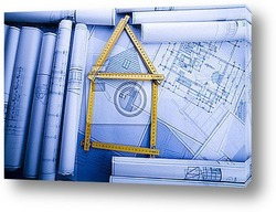 Постер Close up of a blueprint