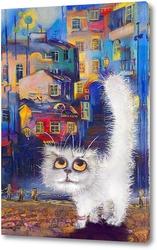 Картина Белый кот и красивый город