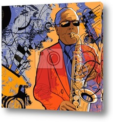 Постер Saxophonist on a grunge background