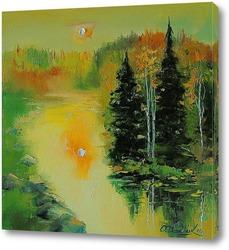 Картина Закат у реки