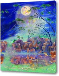 Постер Абстрактный пейзаж с луной