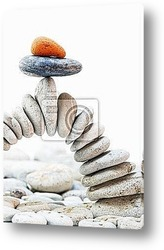 galets zen et sable fin isolГ© sur fond blanc avec coquillages