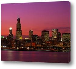 Постер Чикаго в лучах заката.