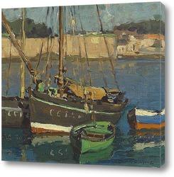 Постер Четыре лодки вдоль гавани